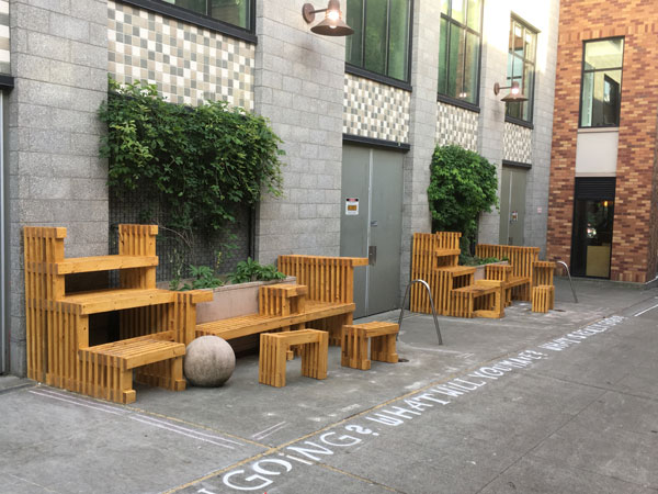 The new street furniture for the activated alley. (Cory Crocker)
