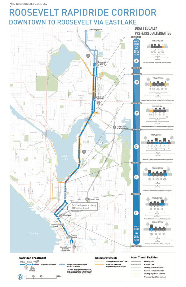 SDOT's Locally Preferred Alternative from the Roosevelt RapidRide corridor. (City of Seattle)