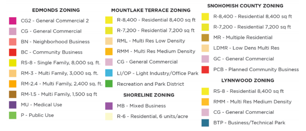 Key to the zoning map. (City of Edmonds)