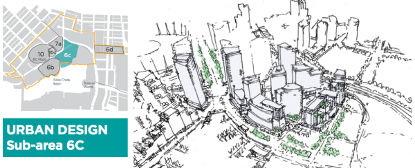 Location of Subarea 6C and the conceptual type of development for the precinct. (City of Vancouver)