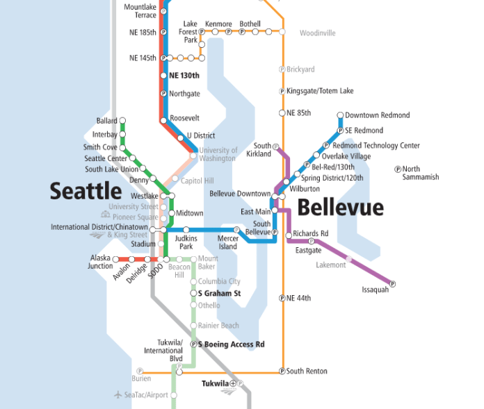 Sound Transit's system expansion map shows Pioneer Square will be a key station serving two different lines. (Sound Transit)