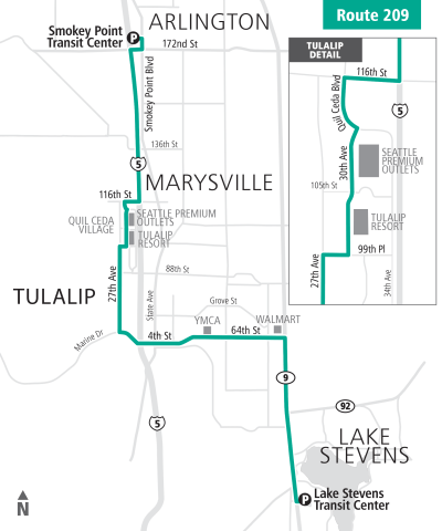 Extended Route 209 alignment. (Community Transit)