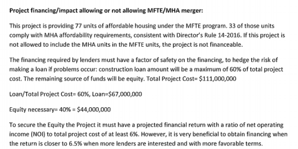 The developer's analysis of providing MFTE and MHA units on-site. (City of Seattle)