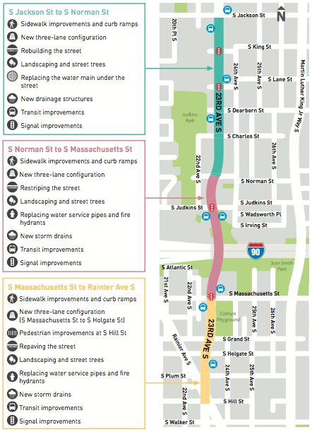 Diagram of planned improvements to 23rd Avenue in the second phase of the corridor project. (City of Seattle)