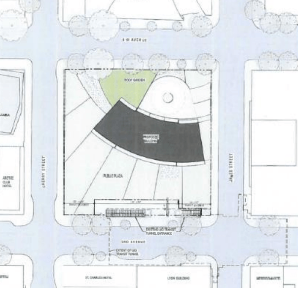 The conceptual site layout; note the plaza space at the bottom of the image. (City of Seattle)