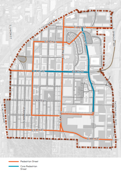 Proposed designation of Pedestrian Street types. (City of Tacoma)