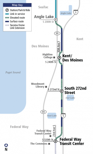 Federal Way Link extension map. (Sound Transit)