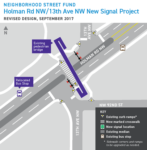 Updated design for the Holman Rd NW and 13th Ave NW road safety project. (City of Seattle)