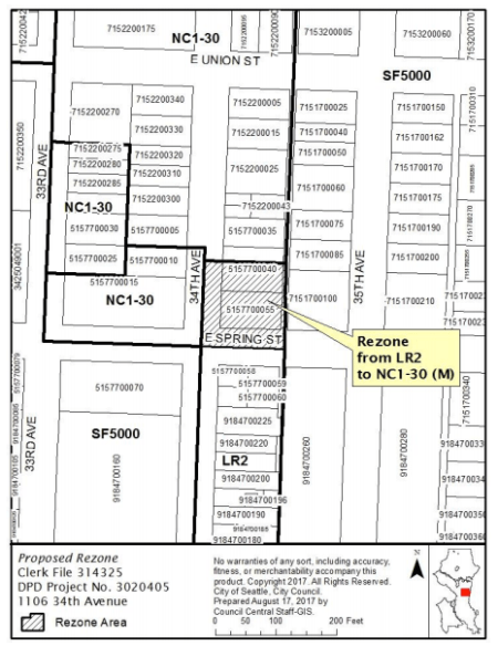 Liebowitz rezone site and local zoning. (City of Seattle)