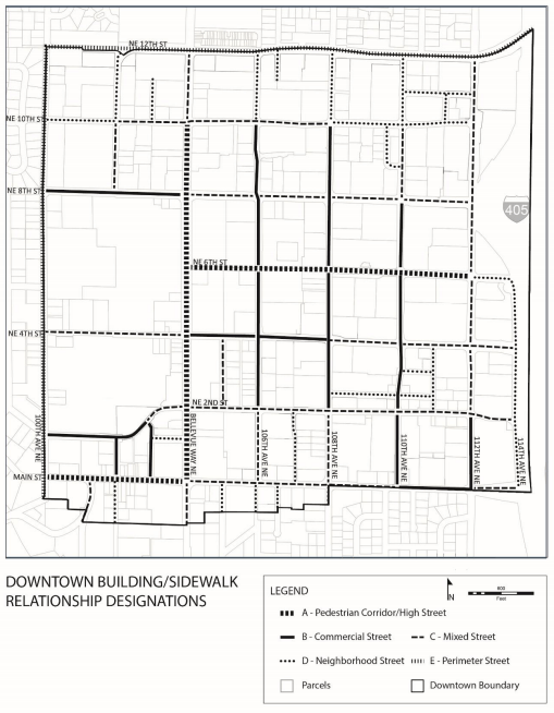 Regulatory map for street type designations. (City of Bellevue)
