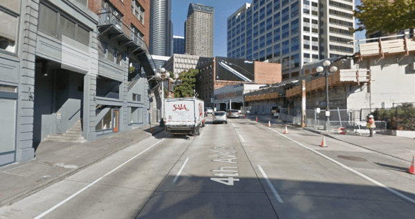 Yesler Bridge fully dismantled at Fourth Avenue in 2016. (Google Maps)