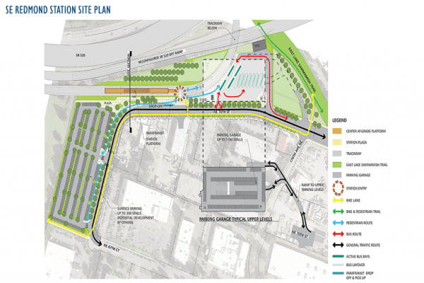 Proposed Southeast Redmond station site plan. (Sound Transit)