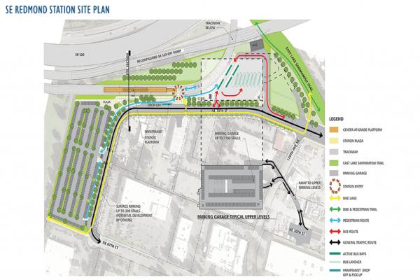 Proposed Southeast Redmond station site plan. (Sound Transit)