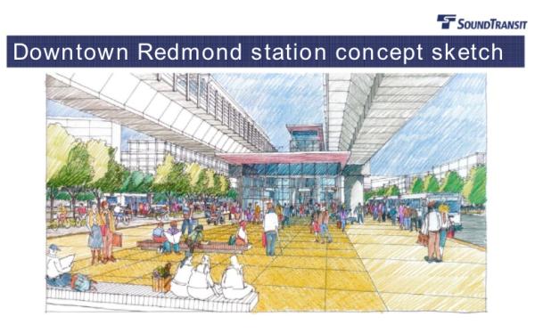 Proposed Downtown Redmond station concept sketch. (Sound Transit)