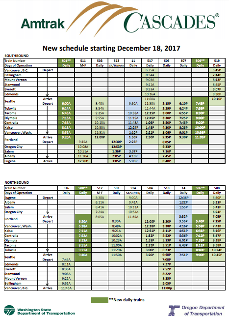 The new Amtrak Cascades schedule starting on December 18, 2017. Green are Cascades trains while blue are Coast Startlight trains. (WSDOT)