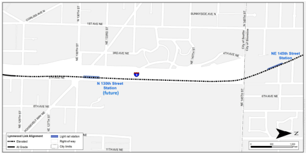 The general location of light rail facilities for Lynnwood Link. (City of Seattle)