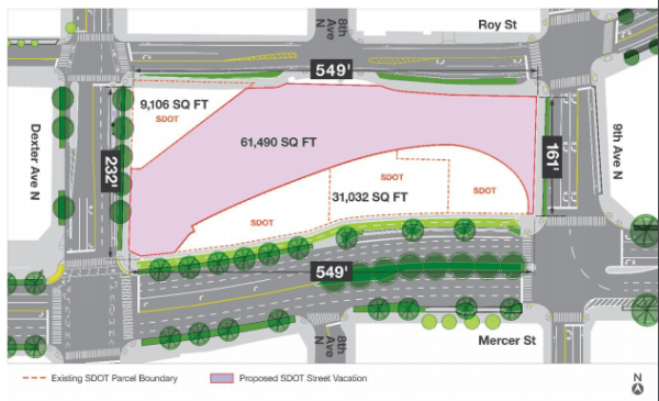The pink area is the Broad Street right-of-way vacated by the city council. (City of Seattle)