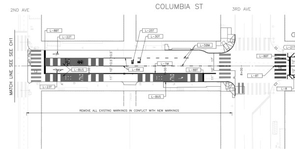 Rechannelization of Columbia Street between Second Avenue and Third Avenue. (City of Seattle)