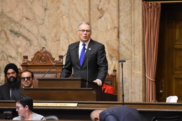 Governor Jay Inslee addresses the Washington State Legislature at the Capitol. (Washington Governor's Office)