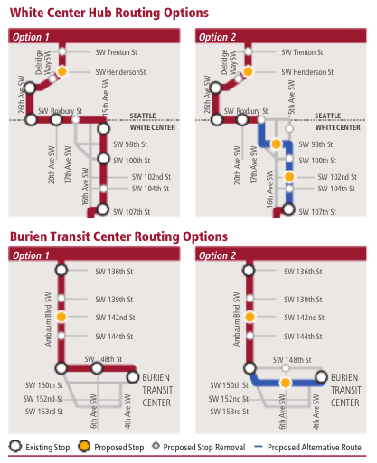 Proposed stop and routing options for the White Center commercial core and Downtown Burien. (King County)