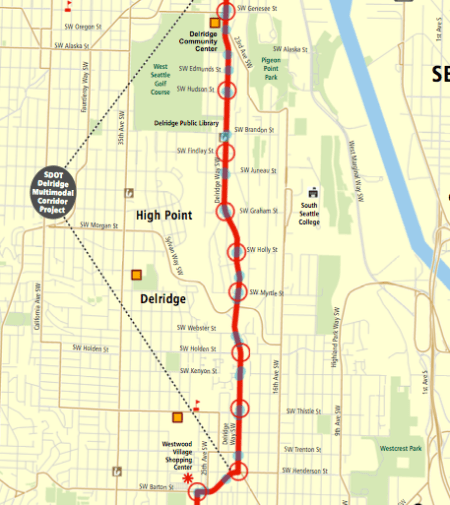 Proposed stop changes along Delridge Way SW. Blue dots are current stops; red circles are proposed stop pairs. (King County)