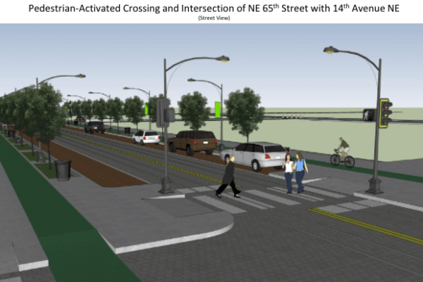 Perspective of pedestrian-activated crossing at intersection at NE 65th St and 14th Ave NE. (Joe Mangan)