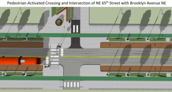 Rendering of pedestrian-activated crossing at intersection at NE 65th St and Brooklyn Ave NE. (Joe Mangan)