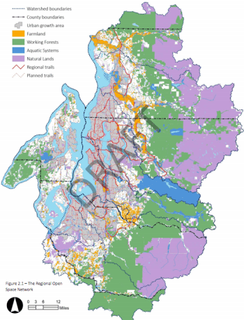 The open space network includes farmland (orange), working forests (green), aquatic systems (blue), and natural lands (purple). Click for larger version. (PSRC)