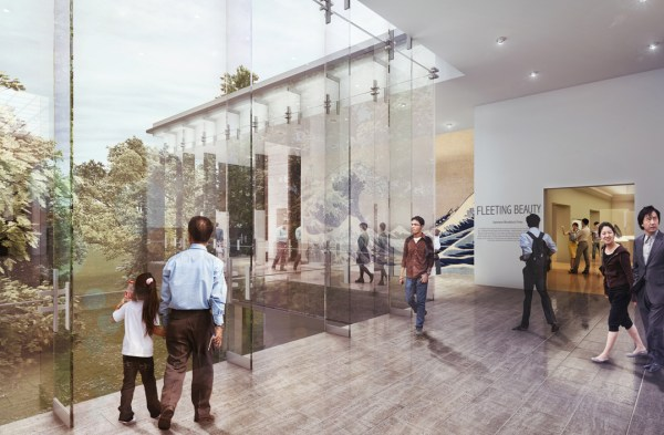 Rendering of the glass lobby that will look out onto the park. (Seattle Art Museum)