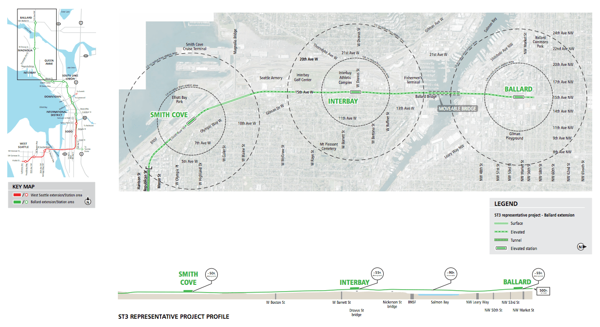 map of the week: west seattle and ballard conceptual alignments