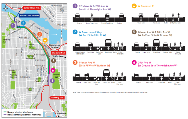 New bike lane facilities and street redesigns in Magnolia and Interbay. (City of Seattle)