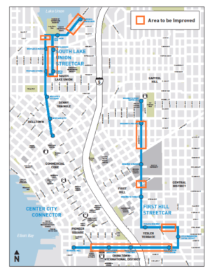 Areas that SDOT is or has made speed and reliability improvements. (City of Seattle)