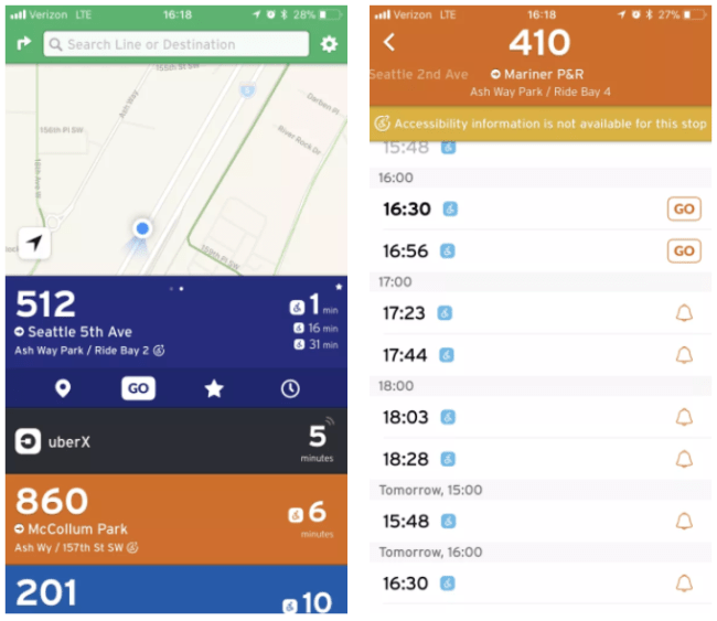 Left: Routes operated by Community Transit with accessibility information. Right: Route 410 noting that stop-level accessibility information is not available.