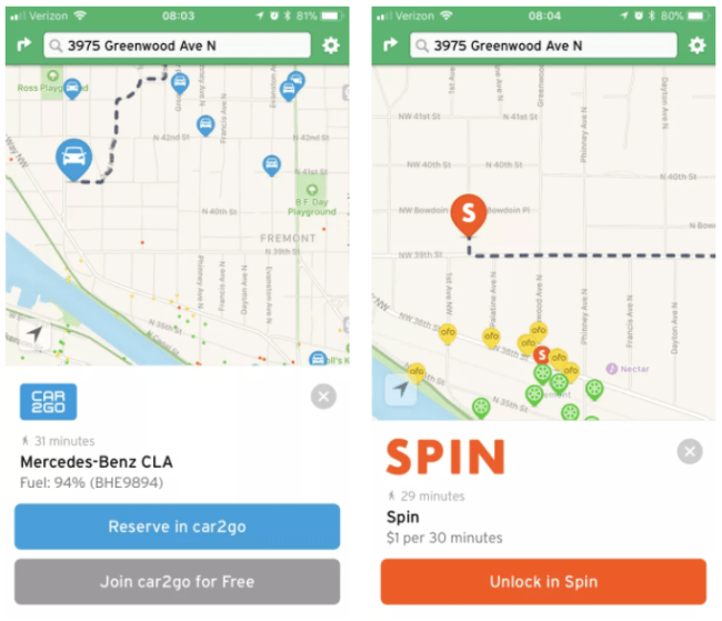 The new look for rental services and bikeshare. (Transit App)