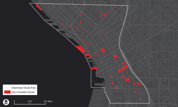 Property owned by the City of Seattle in Downtown. (Data provided by permission of King County)