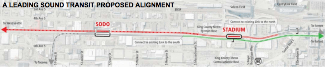 The representative alignment of the West Seattle light rail extension. (Sound Transit)