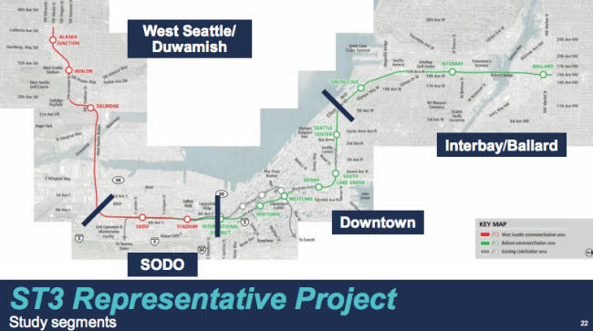 Studied segments as part of the evaluation. (Sound Transit)