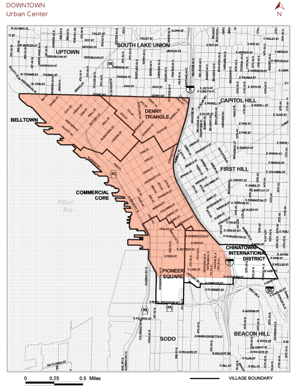 "The study area is the shaded red portion of the outlined Downtown Urban Center. The five subsections are ""urban center villages"" that are no longer used by the City for planning purposes but which continue to enjoy distinct neighborhood identifies. (City of Seattle)"