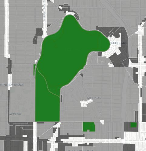 Green Lake is largely surrounded by single-family zoning (light gray).
