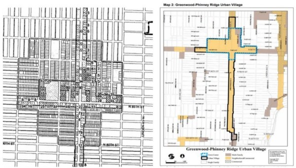 Left: Historic City of Seattle proposed urban village map.Right: Neighborhood planning gerrymandered map.
