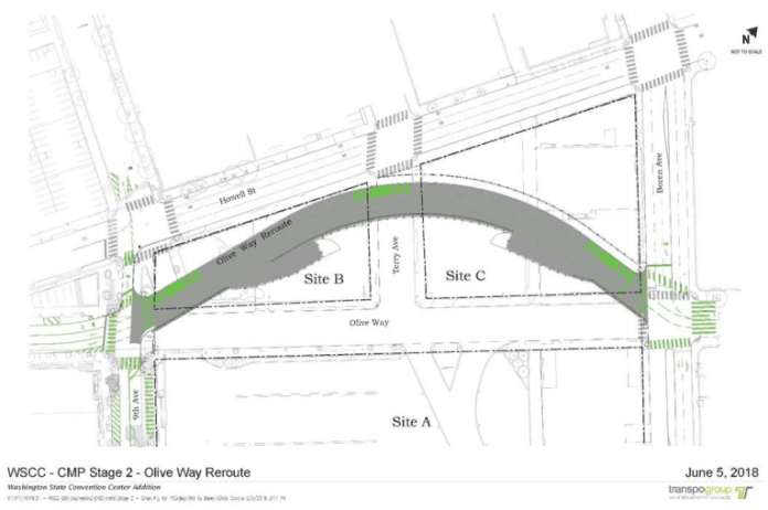 The 60% plan for Olive Way right-of-way shift. (City of Seattle)