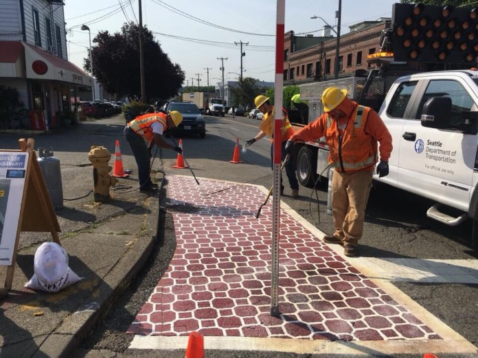 Painted brick patterning used by SDOT. (City of Seattle)