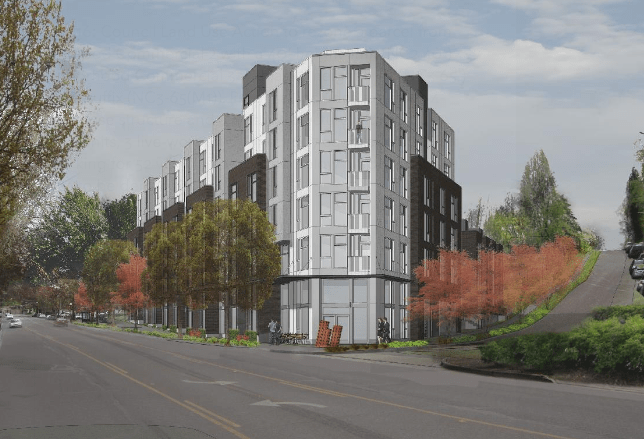 Rendering of the 5201 Rainier Ave S development. (City of Seattle / SHW)