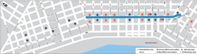 Third Avenue transit service improvements. (City of Seattle)
