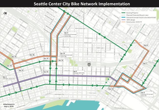 The implementation plan for the Seattle Center City Bike Network. (City of Seattle)