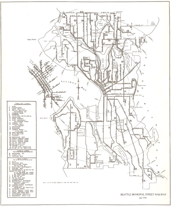 Seattle's old network of trolley, cable, and bus lines. (Seattle Municipal Archives)
