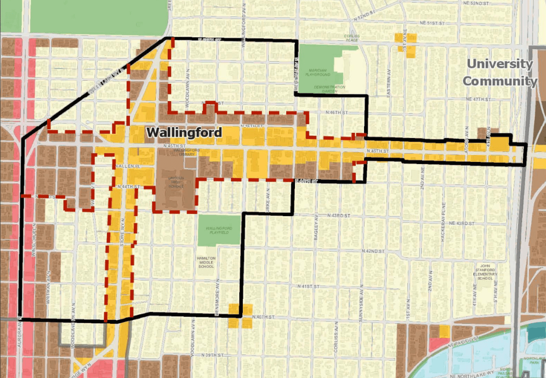 Wallingford Community Council proposed 2017 Comprehensive Plan amendment to remove more than 50 blocks and only park from the urbanvillage. (City of Seattle)