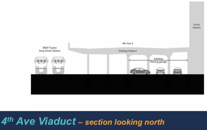 Schematic of the existing conditions of the 4th Ave S viaduct. (Sound Transit)