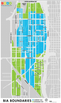 Green is the expanded BIA, blue is the existing BIA. (City of Seattle)