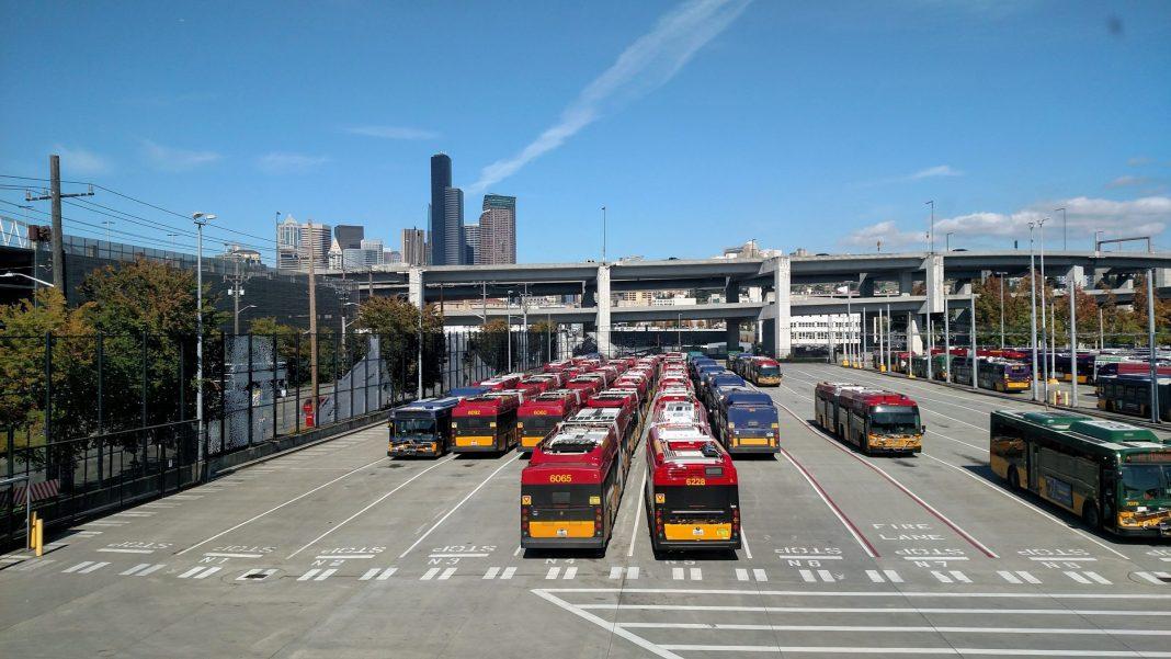 Buses at Atlantic Base. (Photo by Doug Trumm)